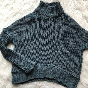 FREE PEOPLE THICK CHUNKY KNIT TURTLENECK SWEATER